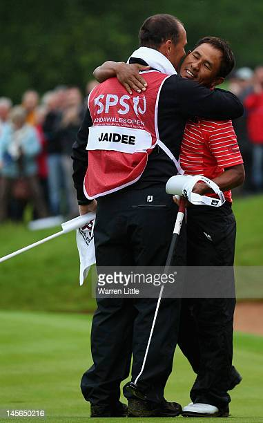 Thongchai Jaidee of Thailand celebrates winning the ISPS Handa Wales Open on the Twenty Ten course at the Celtic Manor Resort on June 3 2012 in...