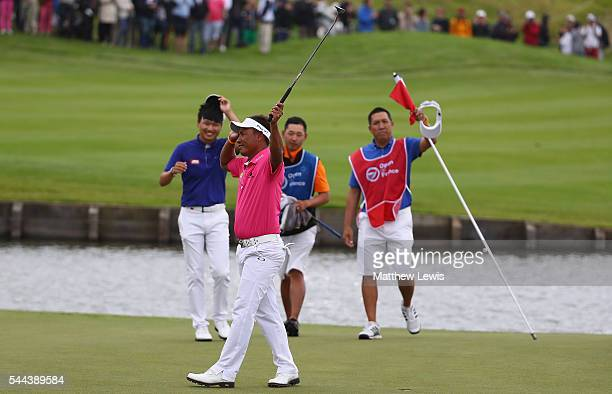 Thongchai Jaidee of Thailand celebtrates his win during day four of the 100th Open de France at Le Golf National on July 3 2016 in Paris France