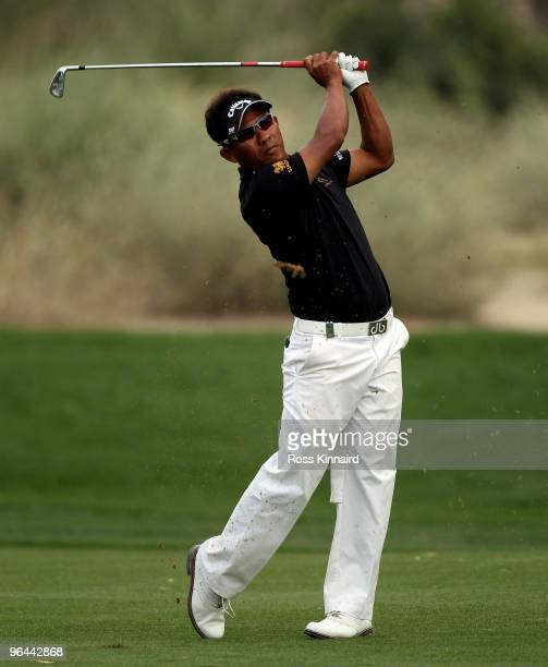 Thongchai Jaidee of Thailand during the second round the Omega Dubai Desert Classic on the Majlis Course at the Emirates Golf Club on February 5,...