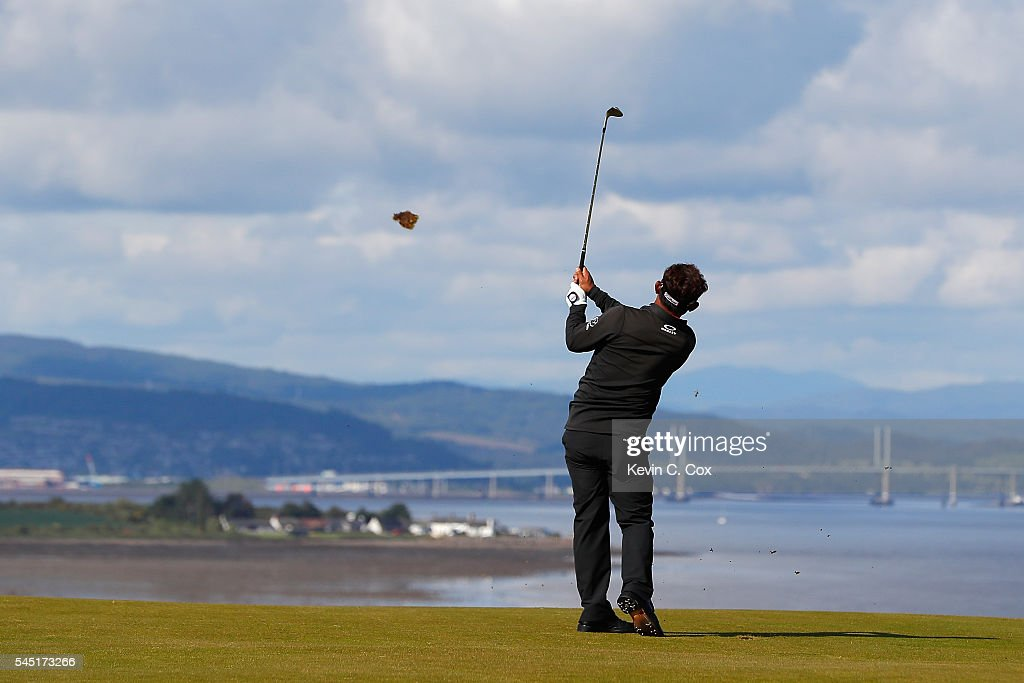 Thongchai Jaidee of Thailand hits his 3rd shot on the 18th hole during a pro-am round ahead of the AAM Scottish Open at Castle Stuart Golf Links on July 6, 2016 in Inverness, Scotland.