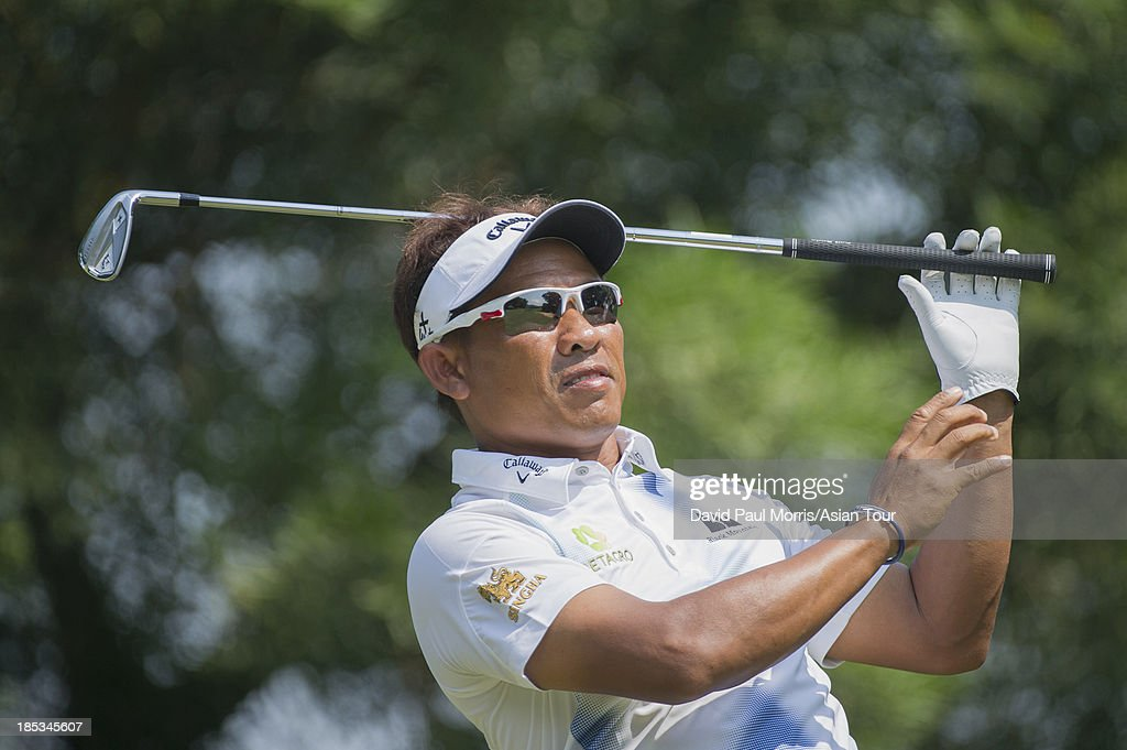 Thongchai Jaidee of Thailand hits his tee shot on the 6th hole during round three of the Venetian Macau Open on October 19, 2013 at the Macau Golf & Country Club in Macau. The Asian Tour tournament offers a record US$ 800,000 prize money which goes through October 20.
