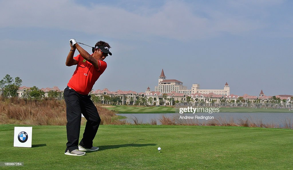 Thongchai Jaidee of Thailand hits his tee-shot on the ninth hole during the final round of the BMW Masters at Lake Malaren Golf Club on October 27, 2013 in Shanghai, China.