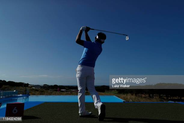 Thongchai Jaidee of Thailand hits his tee-shot on the sixth hole during the Pro Am event prior to the start of the GolfSixes at Oitavos Dunes on June...