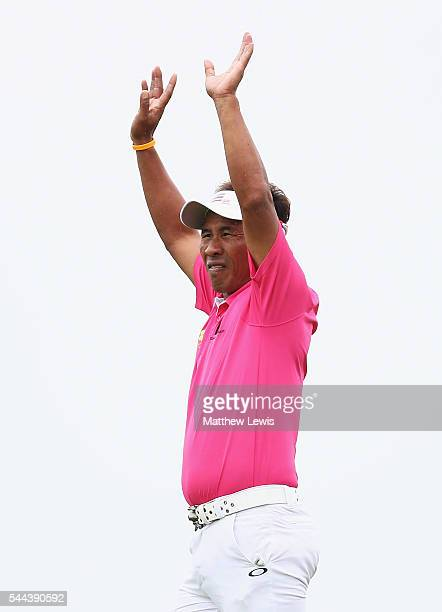 Thongchai Jaidee of Thailand looks on during day four of the 100th Open de France at Le Golf National on July 3, 2016 in Paris, France.