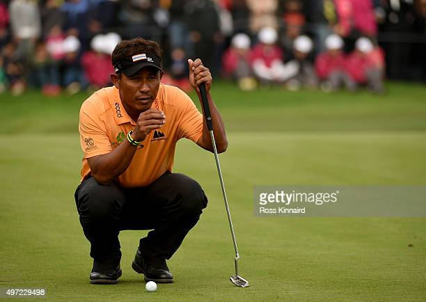 Thongchai Jaidee of Thailand on the 18th green during the final round of the BMW Masters at Lake Malaren Golf Club on November 15 2015 in Shanghai...