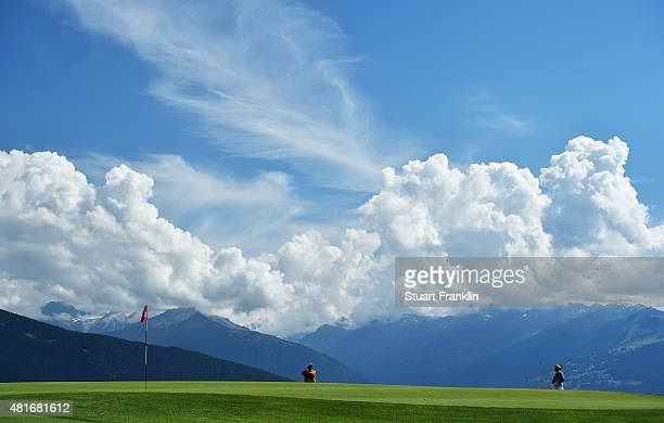 Thongchai Jaidee of Thailand plays a shot during the first round of the Omega European Masters at CranssurSierre Golf Club on July 23 2015 in...
