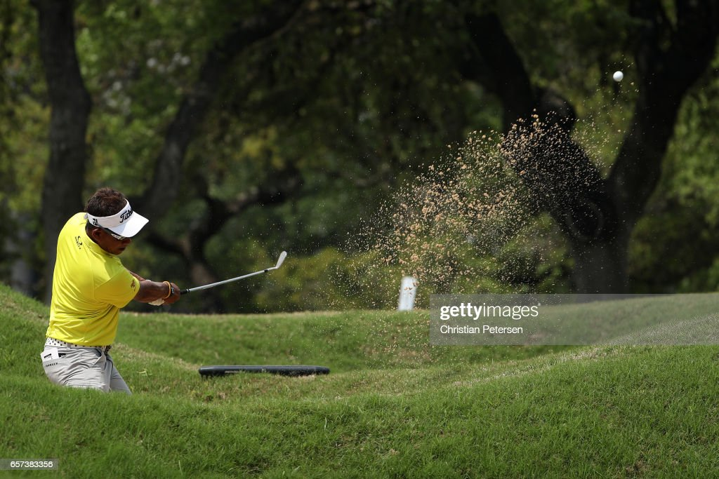 Thongchai Jaidee of Thailand plays a shot from a bunker on the 6th hole of his match during round three of the World Golf Championships-Dell Technologies Match Play at the Austin Country Club on March 24, 2017 in Austin, Texas.