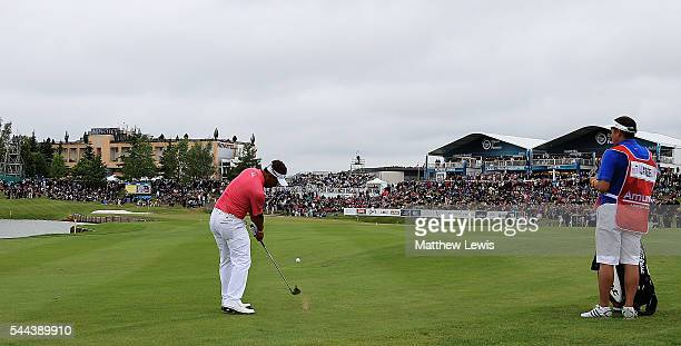 Thongchai Jaidee of Thailand plays his third shot from the 18th fairway during day four of the 100th Open de France at Le Golf National on July 3,...