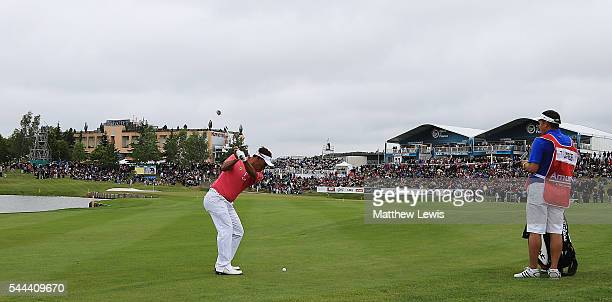 Thongchai Jaidee of Thailand plays his third shot from the 18th fairway during day four of the 100th Open de France at Le Golf National on July 3...