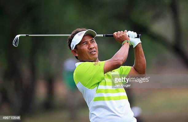 Thongchai Jaidee of Thailand plays shot on the 1st hole during day one of the Nedbank Golf Challenge at Gary Player CC on December 3 2015 in Sun City...
