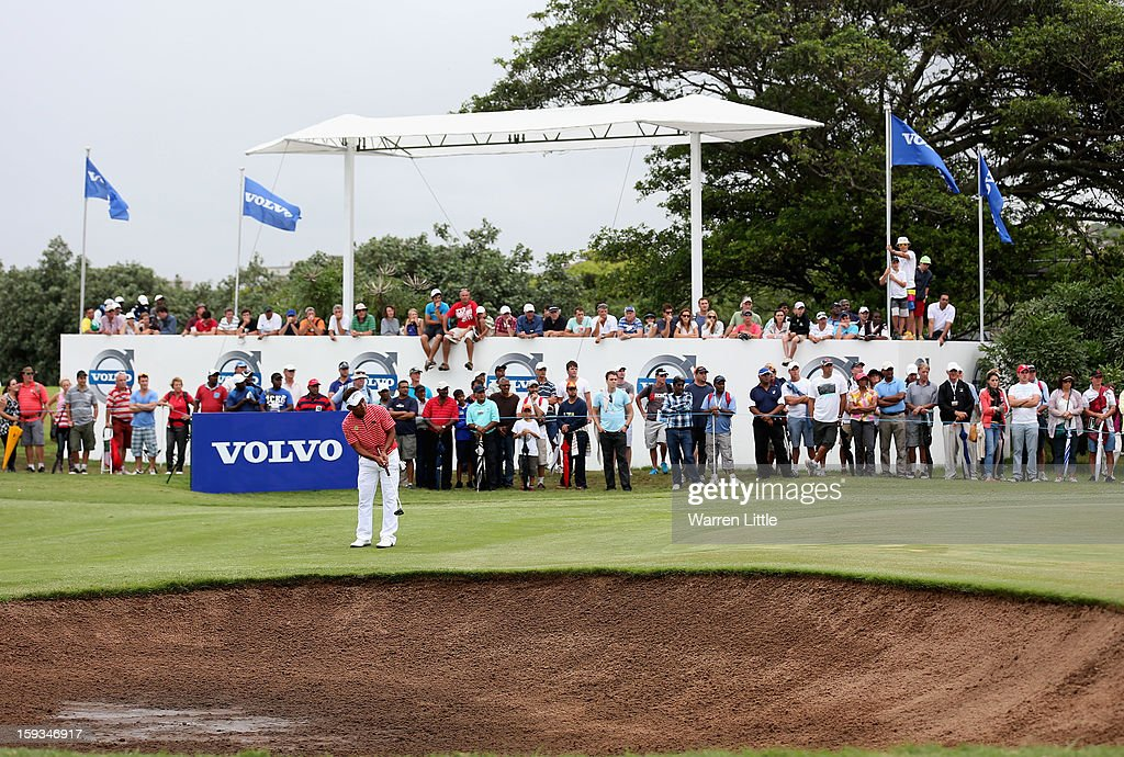 Thongchai Jaidee of Thailand putts on the 13th green during the third round of the Volvo Golf Champions at Durban Country Club on January 12, 2013 in Durban, South Africa.