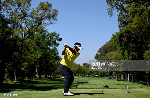 Thongchai Jaidee of Thailand tees off on the first hole during the third round of the Trophee Hassan II at Royal Golf Dar Es-Salam on April 27, 2019...