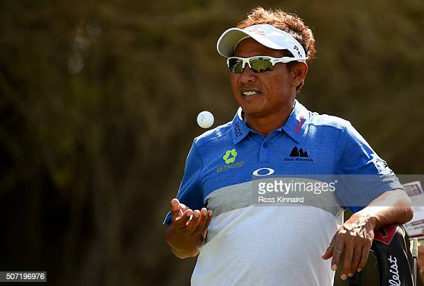 Thongchai Jaidee of Thailand waits on the 3rd tee during the second round of the Commercial Bank Qatar Masters at the Doha Golf Club on January 28...