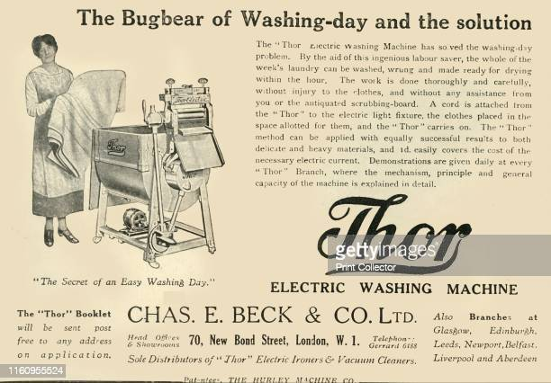 'Thor Electric Washing Machine The Bugbear of Washingday and the solution Chas E Beck Co Ltd' 1920 The Thor washing machine was the first electric...