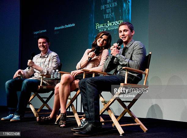Thor Freudenthal Alexandra Daddario and Logan Lerman attend Apple Store Soho Presents Meet The Filmmakers 'Percy Jackson Sea Of Monsters' at Apple...