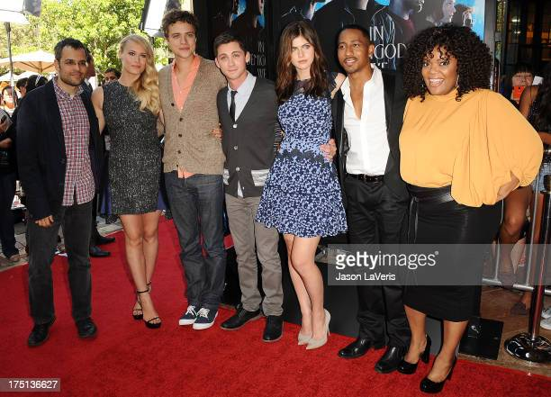Thor Freudenthal Leven Rambin Douglas Smith Logan Lerman Alexandra Daddario Brandon T Jackson and Yvette Nicole Brown attend the premiere of 'Percy...