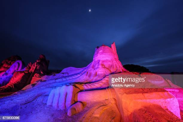 Thor Greek mythological character is exhibited during the 11th International Antalya Sand Sculpture Festival in Antalya Turkey on May 02 2017 Sand...
