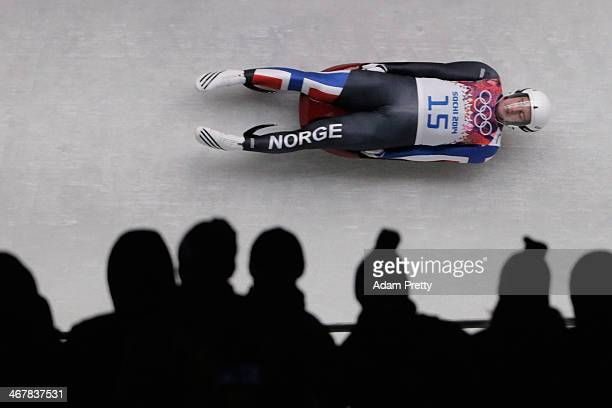 Thor Haug Noerbech of Norway makes a run during the Luge Men's Singles on Day 1 of the Sochi 2014 Winter Olympics at the Sliding Center Sanki on...