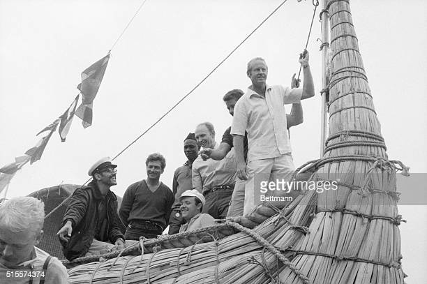 "Thor Heyerdahl with crew on the bow of the ""Ra,"" Safi, Morocco. 5/22/69."