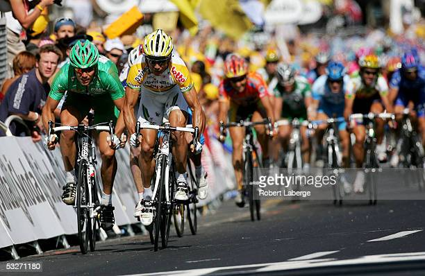 Thor Hushovd of Norway riding for the Credit Agricole cycling team gets beat at the finish line by Robbie McEwen of Australia riding for the...