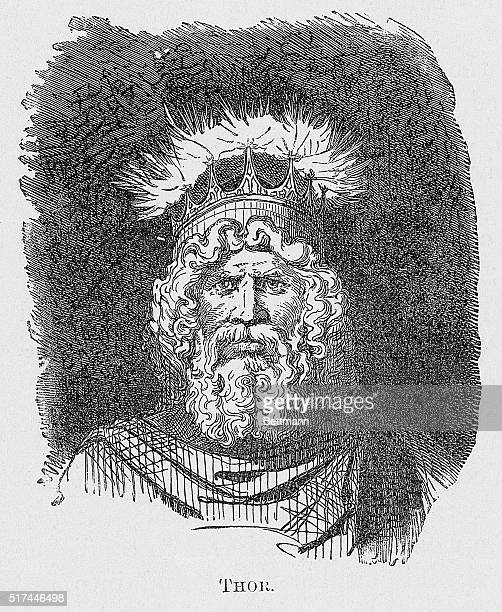 Thor Norse God of Thunder lightening sparks off points of his crown Closeup full face head and shoulders Undated engraving