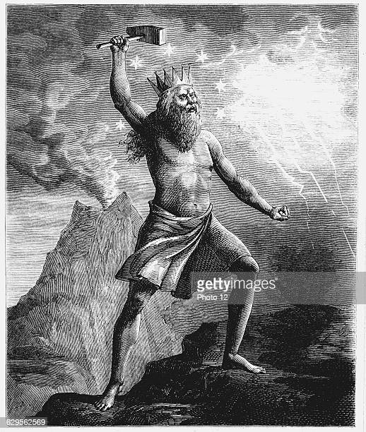 Thor son of Woden or Odin God of thunder in the Scandinavian pantheon shown wielding his hammer symbolising thunder and lightning as he reconstructed...