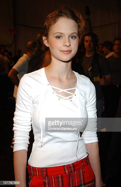 Thora Birch during MercedesBenz Fashion Week Spring Collections 2003 Tommy Hilfiger Show Backstage at Bryant Park in New York City New York United...