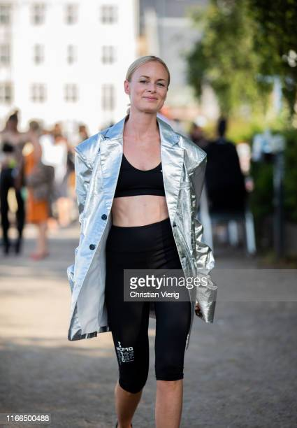 Thora Vadlimars is seen wearing silver oversized blazer outside MUF10 during Copenhagen Fashion Week Spring/Summer 2020 on August 06 2019 in...