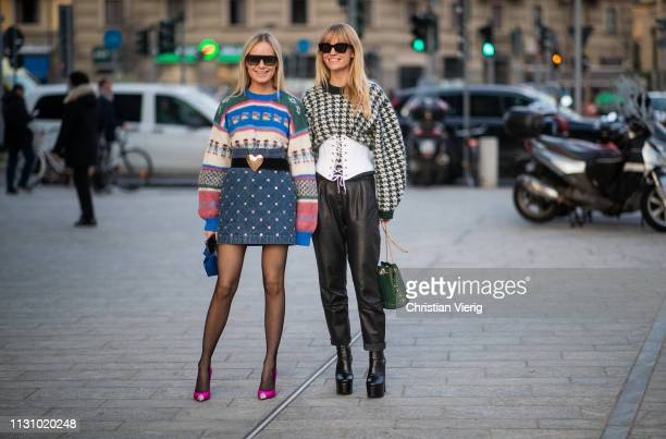 Thora Valdimars and Jeanette Friis Madsen is seen outside Alberta Ferretti on Day 1 Milan Fashion Week Autumn/Winter 2019/20 on February 20 2019 in...