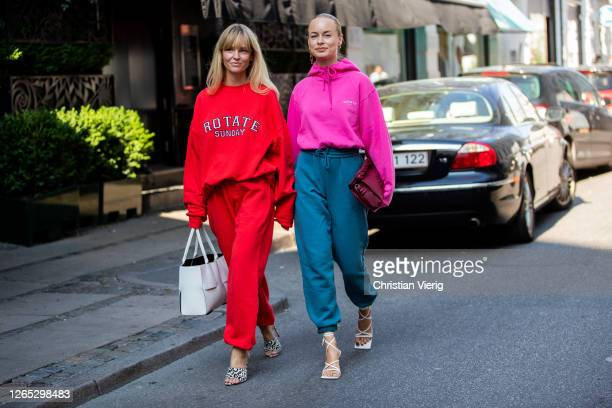 Thora Valdimars and Jeanette Friis Madsen seen wearing Rotate jogger pants, hoody and sweater outside Lovechild 1979 during Copenhagen Fashion Week...