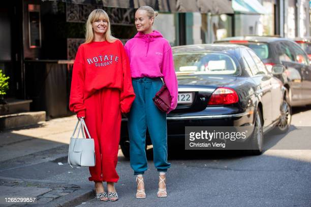 Thora Valdimars and Jeanette Friis Madsen seen wearing Rotate jogger pants hoody and sweater outside Lovechild 1979 during Copenhagen Fashion Week...