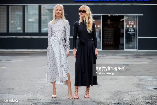 Thora Valdimars and Jeanette Madsen wearing Rotate dress is seen outside By Malene Birger during Copenhagen Fashion Week Spring/Summer 2020 on August...