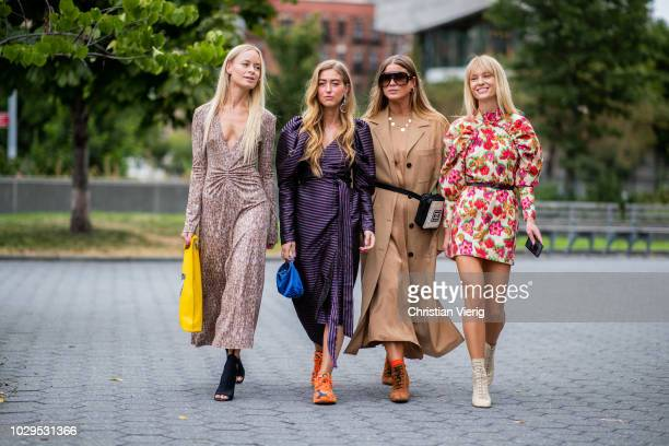 Thora Valdimars, Emili Sindlev, Jeannette Madsen seen outside Self-Portrait during New York Fashion Week Spring/Summer 2019 on September 8, 2018 in...
