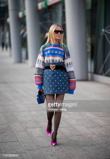 Thora Valdimars is seen wearing knit high waisted skirt sheer tights outside Alberta Ferretti on Day 1 Milan Fashion Week Autumn/Winter 2019/20 on...