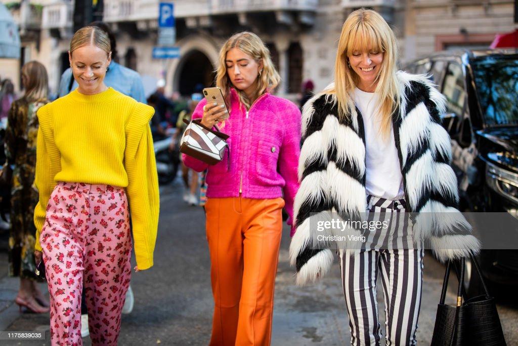 Street Style: September 19 - Milan Fashion Week Spring/Summer 2020 : Nieuwsfoto's