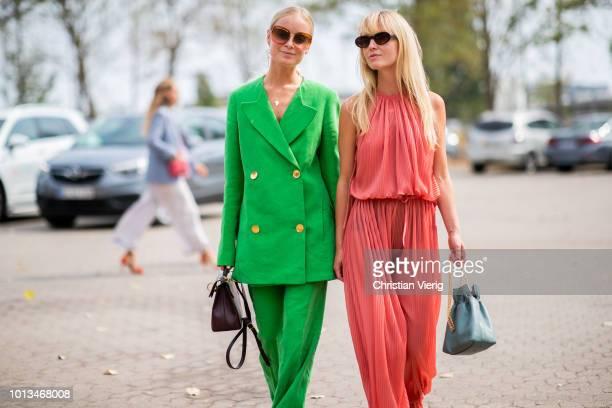 Thora Valdimars Jeannette Madsen seen outside Holzweiler during the Copenhagen Fashion Week Spring/Summer 2019 on August 8 2018 in Copenhagen Denmark