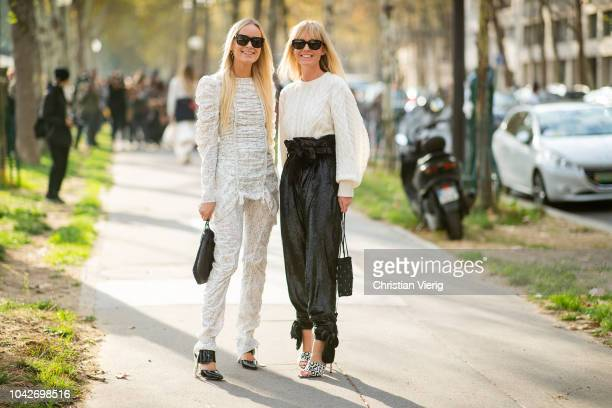Thora Valdimars Jeannette Madsen wearing black high waist pants white knit seen outside Loewe during Paris Fashion Week Womenswear Spring/Summer 2019...