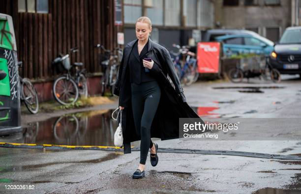 Thora Valdimars seen wearing leggings, black coat outside Rodebjer during Copenhagen Fashion Week Autumn/Winter 2020 Day 3 on January 30, 2020 in...