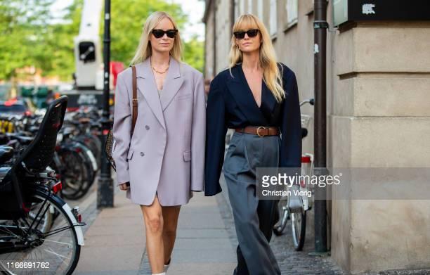 Thora Valdimars wearing oversized blazer and Jeanette Friis Madsen wearing grey high waitst pants brown belt navy blazer seen outside Helmstedt...