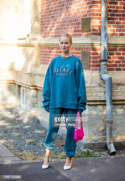 Thora Valdimars wearing Rotate sweater and jogger pants is seen outside By Malene Birger during Copenhagen Fashion Week Spring/Summer 2021 on August...