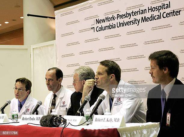 Thoracic surgeon Dr Joshua Sonett who will perform the surgery on former US President Clinton sits with Cardiology chief Dr Allan Schwartz New York...