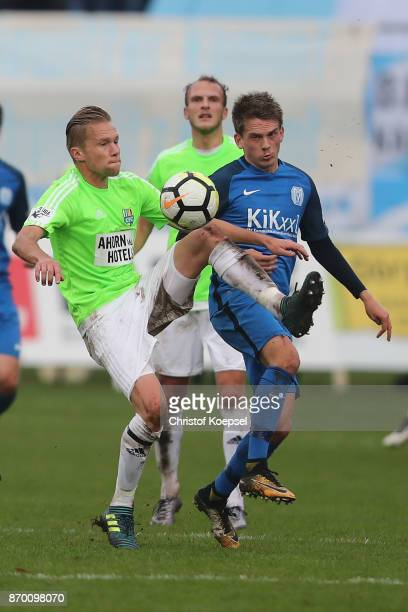 Thorben Deters of Meppen challenges Dennis Grote of Chemnitz during the 3 Liga match between SV Meppen and Chemnitzer FC at Haensch Arena on November...
