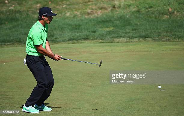 Thorbjorn Olesen of Denamark looks on after missing a putt on the 4th hole during day four of the DD Real Czech Masters at the Albatross Golf Resort...