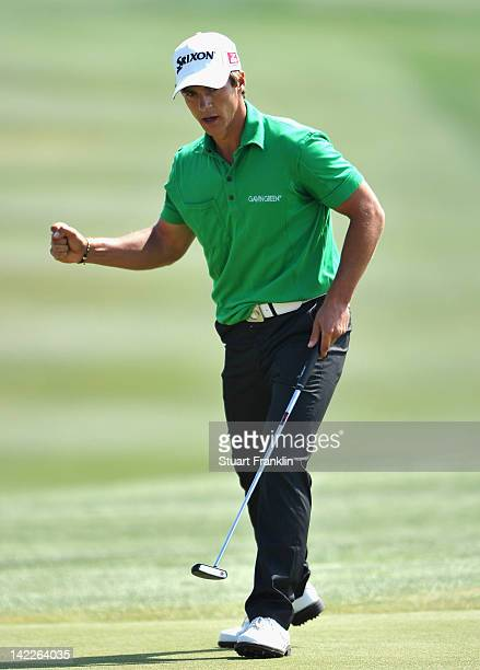 Thorbjorn Olesen of Denamrk celebrates during the final round of the Sicilian Open at Verdura Golf and Spa Resort on April 1 2012 in Sciacca Italy
