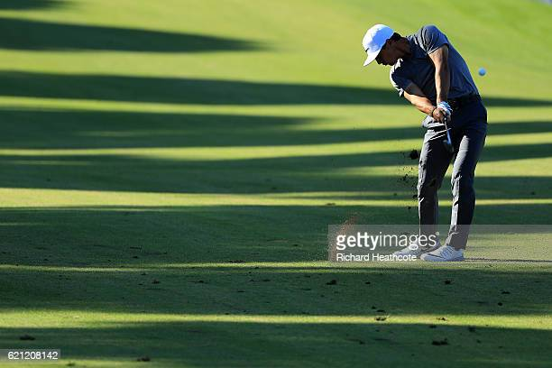 Thorbjorn Olesen of Denamrk plays into the 11th green during the third round of the Turkish Airlines Open at the Regnum Carya Golf Spa Resort on...
