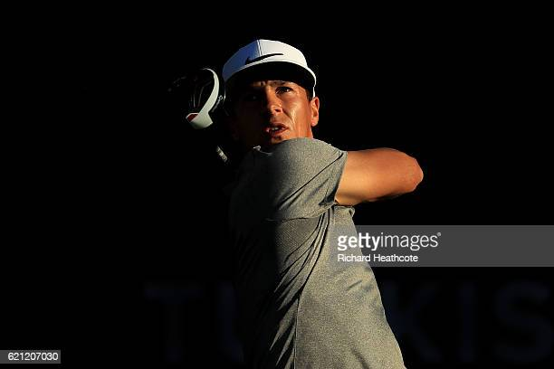 Thorbjorn Olesen of Denamrk tee's off at the 18th during the third round of the Turkish Airlines Open at the Regnum Carya Golf Spa Resort on November...