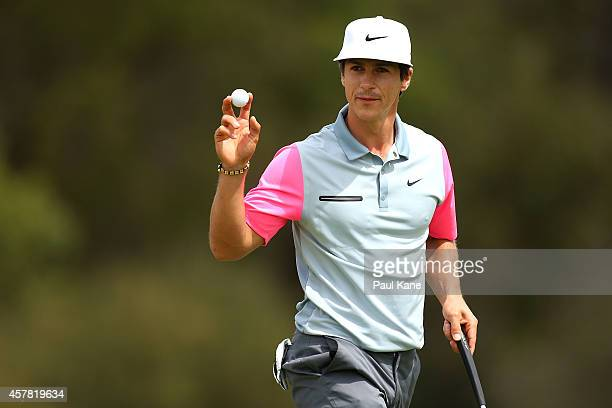 Thorbjorn Olesen of Denmark acknowledges the gallery after birdieing the 14th hole during day three of the 2014 Perth International at Lake Karrinyup...