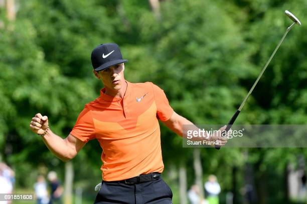 Thorbjorn Olesen of Denmark celebrates during day three of Nordea Masters at Barseback Golf Country Club on June 3 2017 in Barsebackshamn Sweden