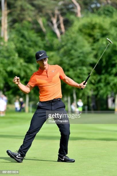 Thorbjorn Olesen of Denmark celebrates during day three of Nordea Masters at Barseback Golf Country Club on June 3 2017 in Barsebackshamn Sweden