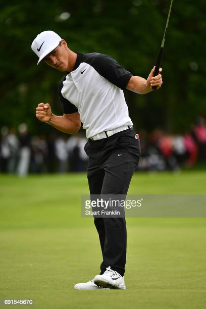 Thorbjorn Olesen of Denmark celebrates holing a putt during the second round of The Nordea Masters at Barseback Golf Country Club on June 2 2017 in...